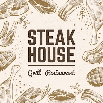 Croquis de fond de viande. menu de grillades. toile de fond de viande barbecue vintage dessiné à la main