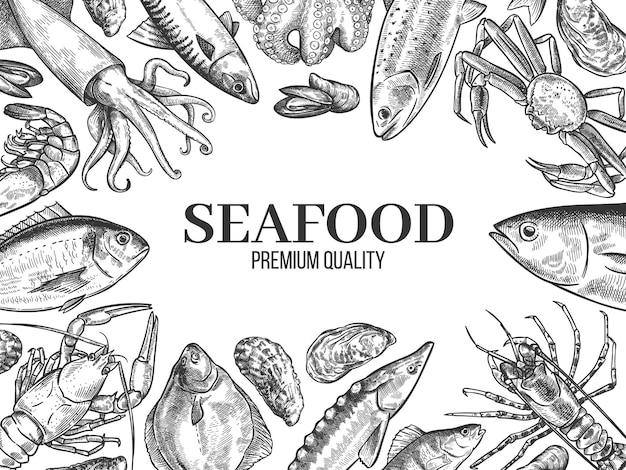 Croquis de fruits de mer. poisson frais dessiné à la main, homard, crabe, huître, moule, calmar et crevettes, fond de vecteur de menu de restaurant de croquis vintage. épicerie fine eau douce et océan, concept gastronomie