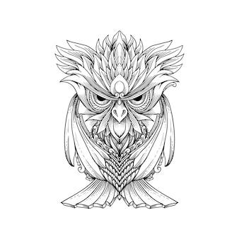 Croquis hibou dessiné à la main peut être utilisé pour le tatouage, la conception de t-shirt, la décoration.