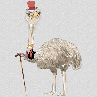 Croquis de hipster ostrich bird en chapeau haut de forme rouge et noeud papillon or avec bâton de marche