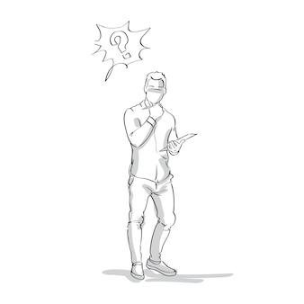 Croquis, homme affaires, pensée, tenir, menton, silhouette homme affaires, à, point question, longueur, sur, fond blanc