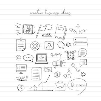 Croquis d'idée d'entreprise. doodle dessiné à la main.