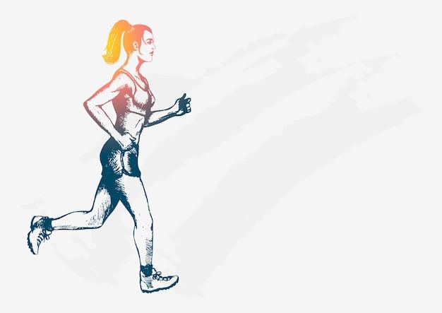 Croquis illustration d'une figure féminine jogging
