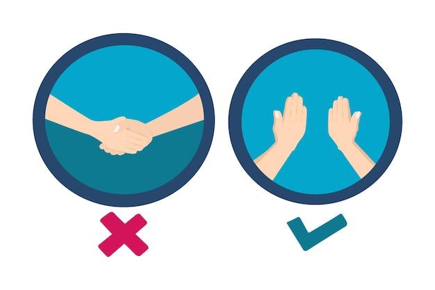 Croquis illustration main dessinant le protocole covid sans serrer la main