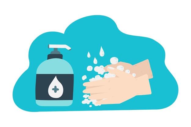 Croquis illustration main dessinant le protocole de lavage des mains pour la santé
