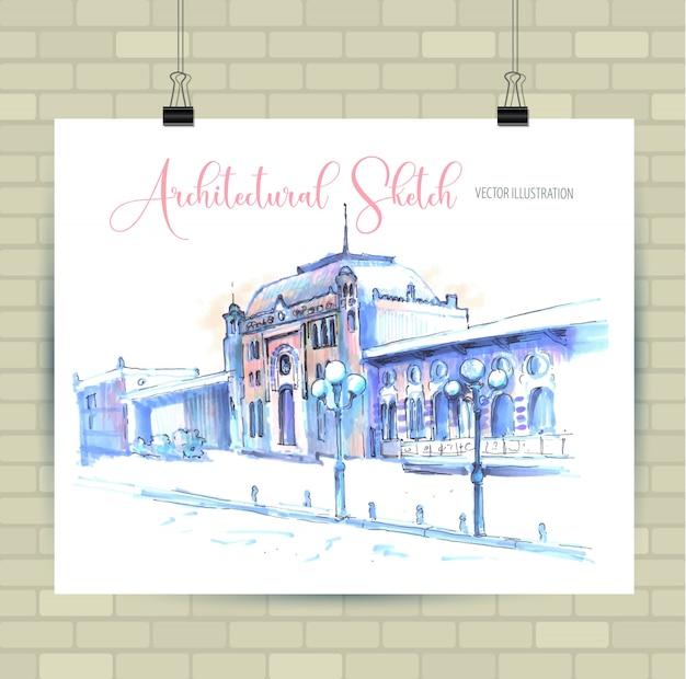 Croquis d'illustration en vecteur. affiche avec belle vieille ville.