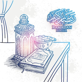 Croquis de la lanterne de ramadan kareem dessiné à la main