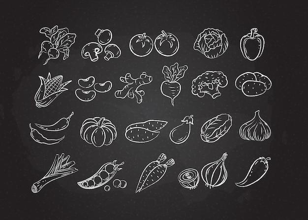 Croquis de ligne blanche craie légumes et