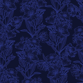 Croquis de la ligne moderne de floraison floral plante botanique fleur fond transparente motif eps10