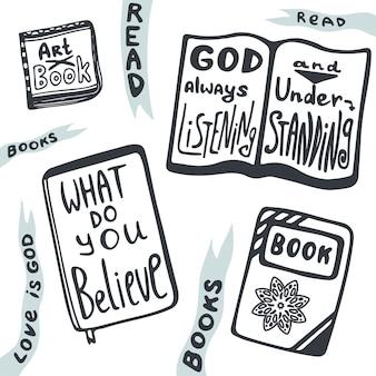 Croquis de livres mis en. collection de vecteur avec des phrases relogion signifiant. qu'est-ce que tu crois.