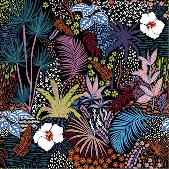 Croquis de main colorée transparente été sombre de tropical