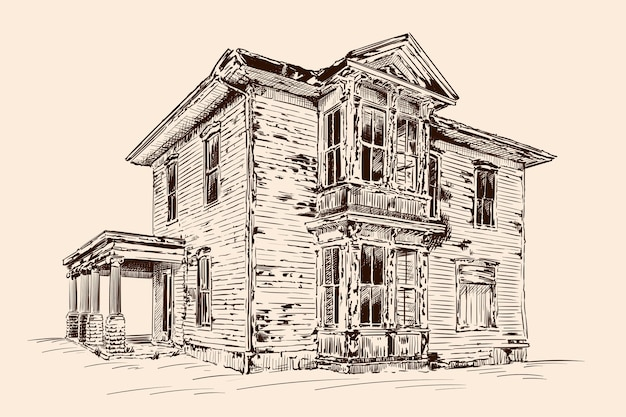 Croquis de la main sur la couleur beige. ancienne maison en bois rustique abandonnée sur une fondation en pierre.