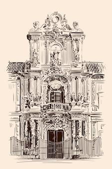 Croquis à la main d'une façade de bâtiment dans le style rococo classique. l'entrée principale.
