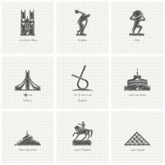 Croquis de la main free world célèbre collection historique