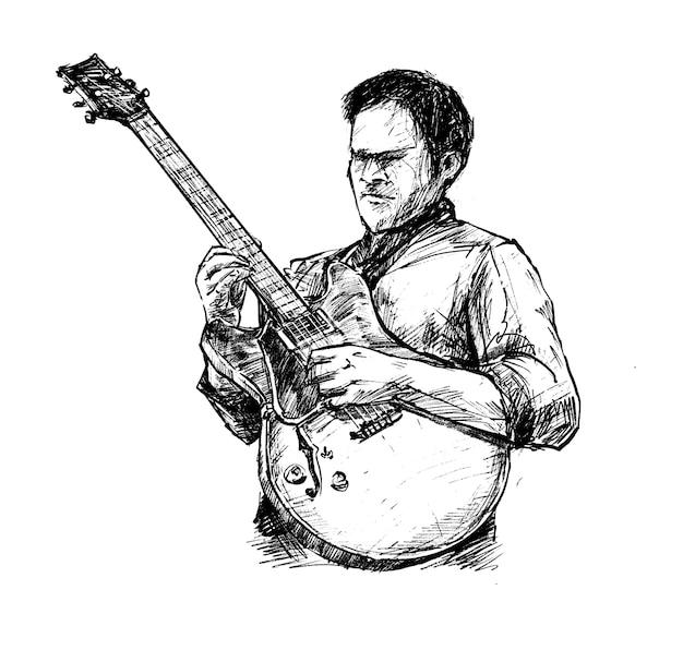Croquis de la main de l'homme de jazz guitare dessiner