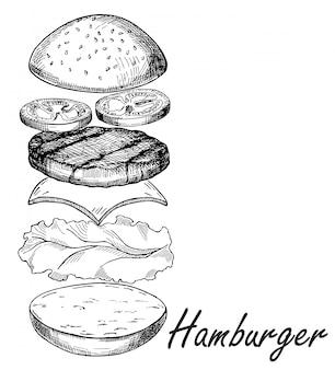 Croquis de main isolé hamburger. burger comprend côtelette, fromage, tomate et salade isolée