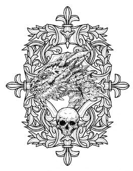 Croquis à la main de tatouage art dargon noir et blanc