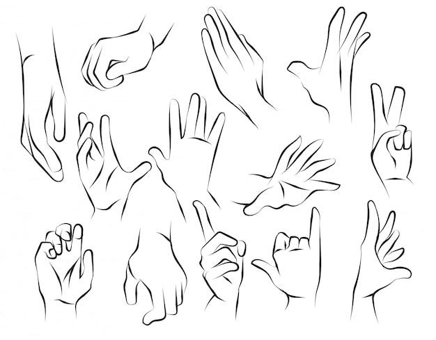 Croquis de mains et dessin noir et blanc