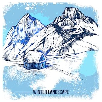 Croquis maison dans les montagnes d'hiver
