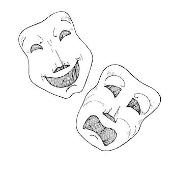 Croquis de masques de théâtre. tragédie et comédie.