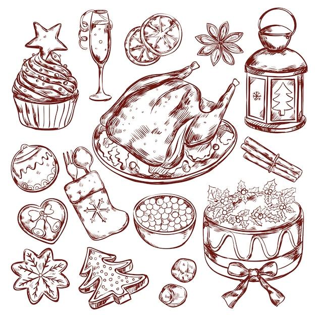 Croquis de menu de nourriture de noël