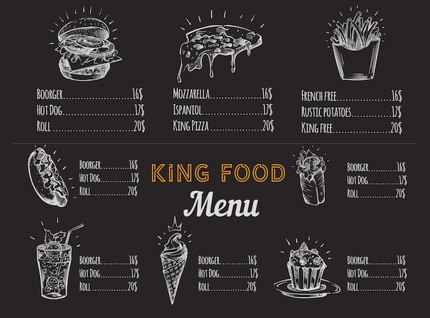 Croquis de menu de restauration rapide à la craie blanche