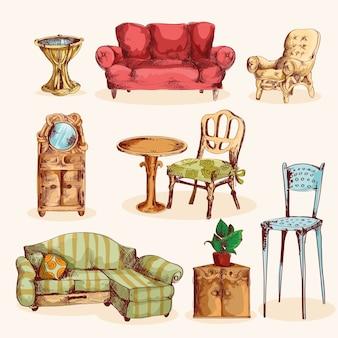 Croquis de meubles coloré