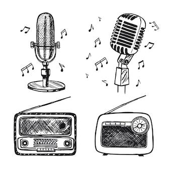 Croquis de microphone rétro illustration dessinée à la main