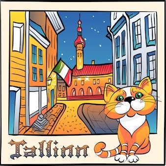 Croquis avec mignon chat rouge et mairie dans la vieille ville médiévale de tallinn estonie