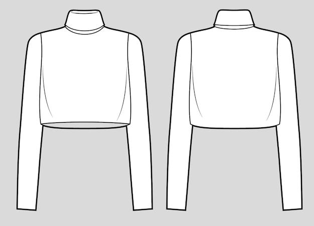 Croquis de mode à col roulé court coupe large