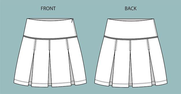 Croquis de mode jupe sur la vue avant et arrière