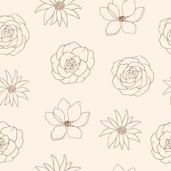 Croquis de modèle sans couture de fleurs