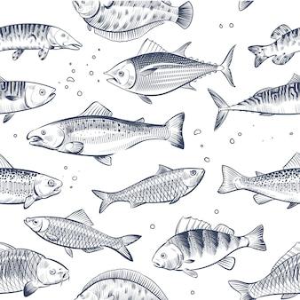 Croquis modèle sans couture de poissons