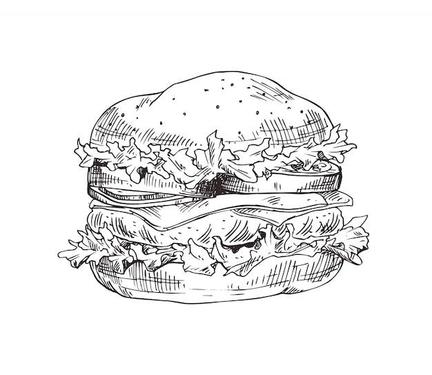 Croquis monochrome de vecteur de hamburger dessiné à la main