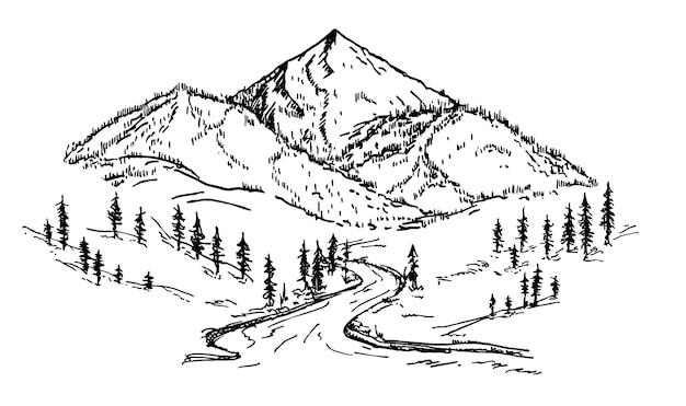 Croquis de montagne forêt de pins style de gravure illustration vectorielle dessinés à la main formes de montagne pour les logos