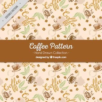 Croquis de motifs de tasses à café