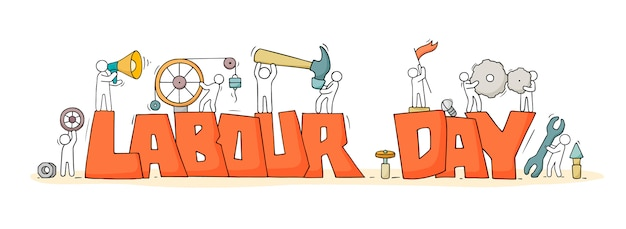 Croquis avec des mots fête du travail et petites personnes.