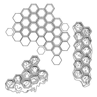 Croquis de nid d'abeille avec du miel isolé sur fond blanc. vecteur