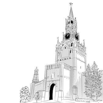 Croquis en noir et blanc de la tour spasskaya du kremlin de moscou, russie, vue depuis la place rouge
