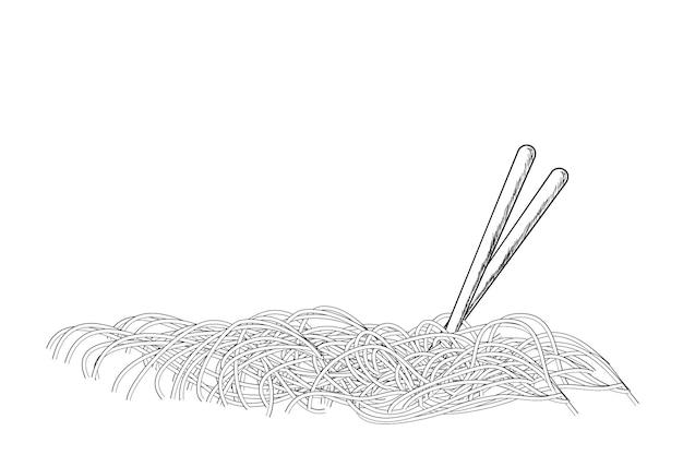 Croquis, nouilles et baguettes de dessin à main vectorielle simple