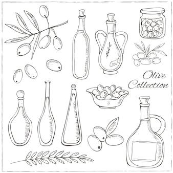 Croquis d'olive sertie de branche d'arbre et bouteille d'huile
