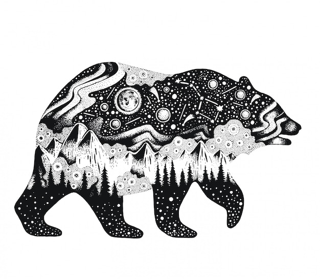 Croquis ours avec montagnes et forêt