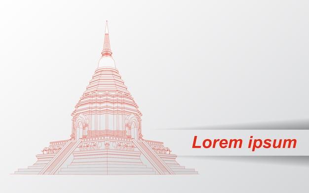 Croquis de la pagode thaïlandaise.