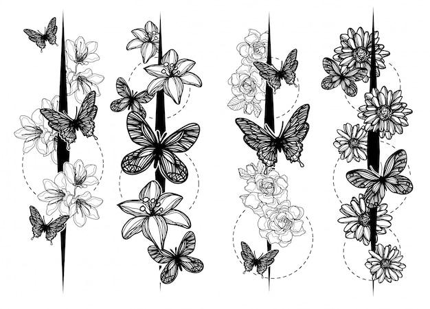 Croquis papillon art tatouage noir et blanc