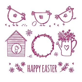 Croquis de pâques des vacances de printemps avec des poulets et des fleurs mignons