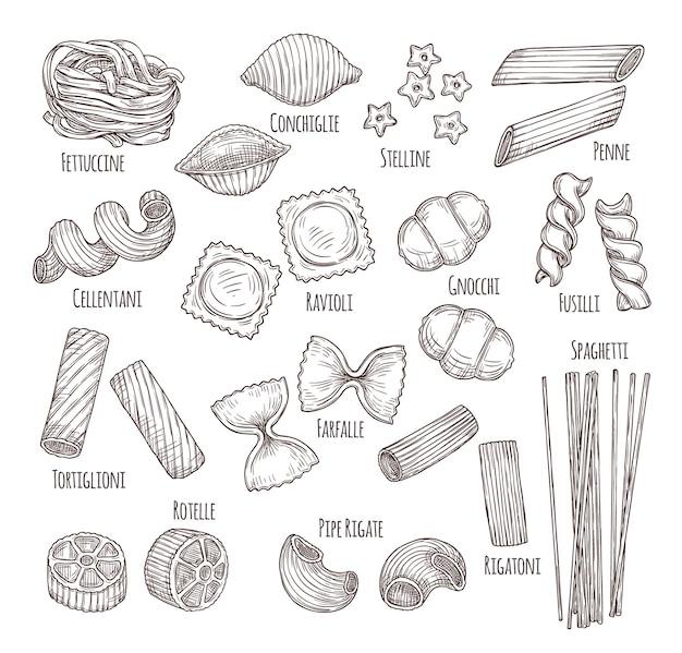 Croquis de pâtes. menu italien dessiné à la main, types d'aliments de restaurant authentiques. croquis isolés penne fusilli fettuccine, ensemble de vecteurs d'ingrédients de plat. pâtes italiennes dessinées à la main, illustration de spaghettis design