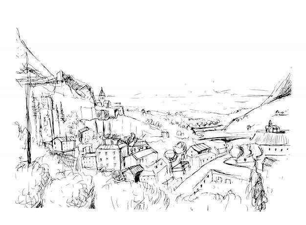 Croquis de paysage géorgien remarquable. illustration vectorielle de contour dessiné main noir et blanc.