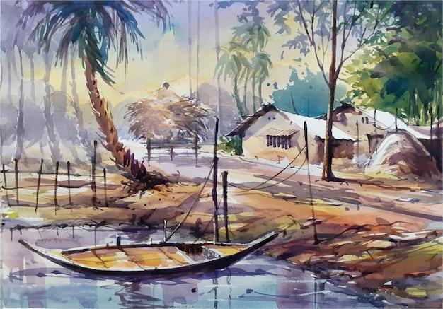 Croquis de paysage nature aquarelle sur illustration dessinée à la main