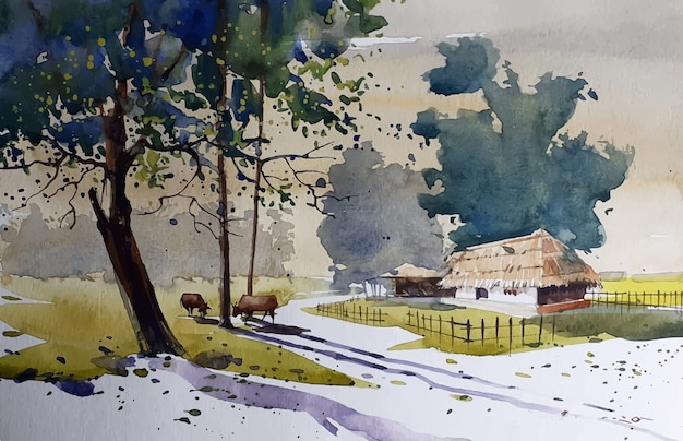Croquis de paysage nature aquarelle