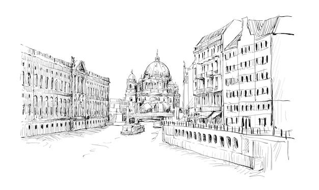 Croquis de paysage urbain en allemagne montrent l'ancienne église berliner dom le long de la rivière à berlin